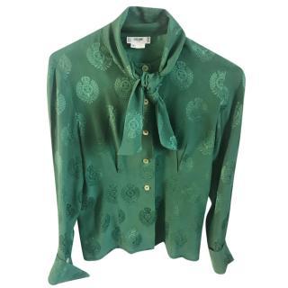 Celine Green Silk Vintage Blouse