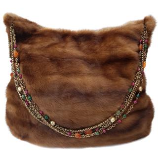 Oscar de la Renta brown mink jewelled chain hobo bag.