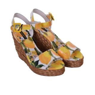 Dolce & Gabbana lemon printed bianca sandals