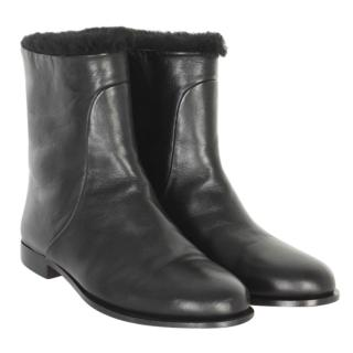 Jimmy Choo Black Nappa Leather and Shearling Lined Ankle Boots