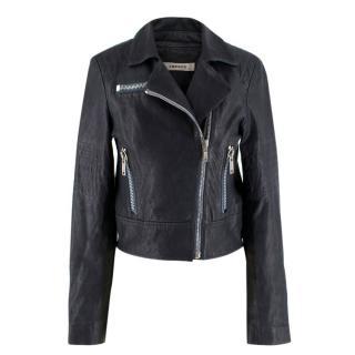 J BRAND Navy Leather Biker Jacket