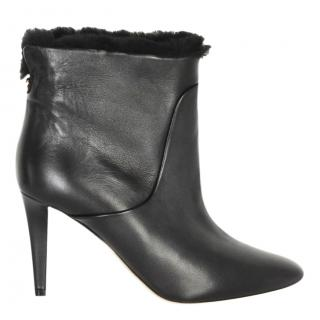 Jimmy Choo Black Nappa Leather and Shearling Lined Ankle Heel Boots