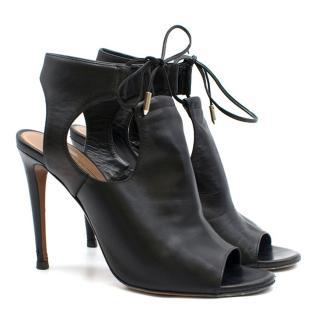 Aquazzura Black Leather Peep-Toe Heels