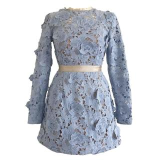 Self Portrait Blue Floral Giupure Lace Mini Dress