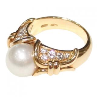 Bvlgari Diamond & Pearl 18ct Gold Ring