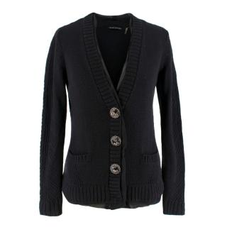 Elie Tahari Wool Knit Cardigan With Decorative Buttons