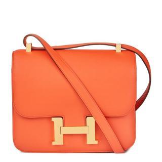43aa687345 Hermes Orange Poppy Evergrain Leather Constance 24 2017