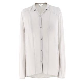 Helmut Lang grey silk-chiffon shirt