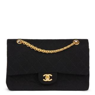 Chanel Black Quilted Jersey Fabric Vintage Medium Classic Double Flap
