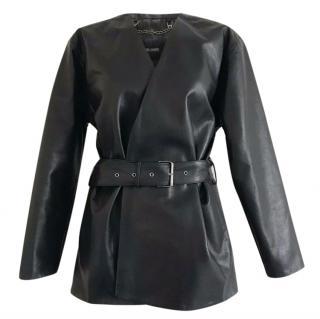 Rachel Comey Embark Black Leather Collarless Jacket with Waist Belt