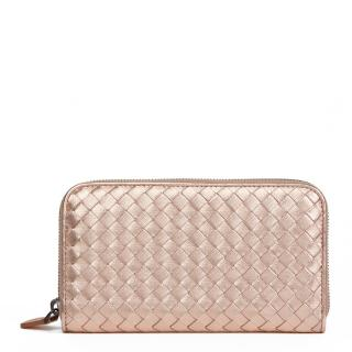 Bottega Veneta Rose Gold Metallic Calfskin Leather Zip Around Wallet