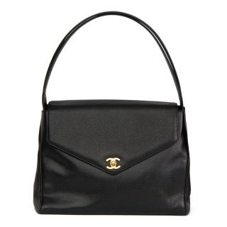 Chanel Black Caviar Leather Classic Shoulder Bag
