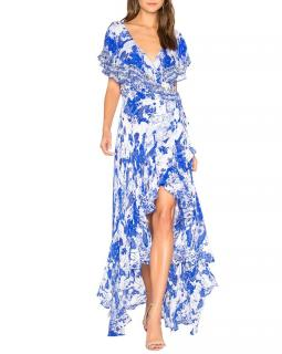 Camilla Frill Sleeve Floral-Print Maxi-Dress