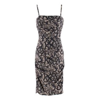 Dolce & Gabbana Ruched Silk-Blend Lace Effect Dress