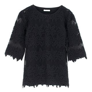 Chloe Black Semi-Sheer Floral Lace Embroidered Top