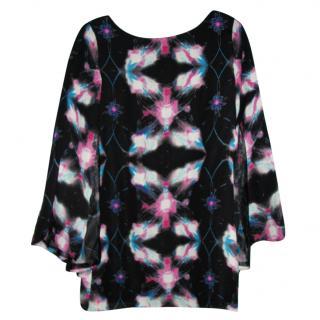 Halston Heritage abstract print silk dress