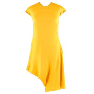 Alexander McQueen Yellow Silk Asymmetric Dress