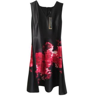 New Donna Karen Silk Printed Evening Dress