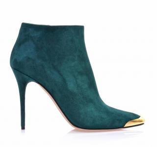 Alexander McQueen teal suede metal capped ankle boots