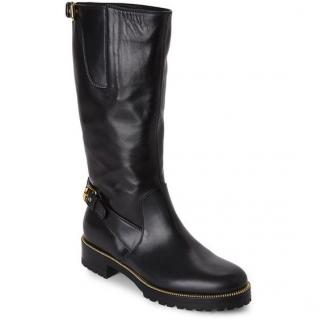 SERGIO ROSSI black nappa leather mid calf boots