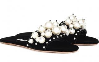 Miu Miu Velvet Pearl Embellished Slides
