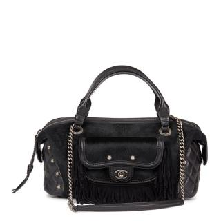 Chanel Black Quilted Calfskin, Suede, Pony Fur Paris-Dallas Boston Bag