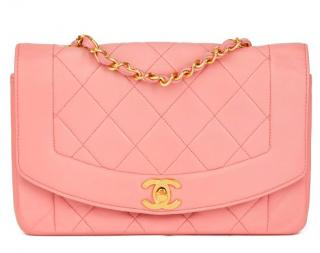 Chanel Pink Quilted Lambskin Vintage Small Diana Classic Flap Bag