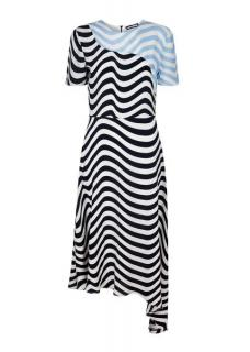 HOUSE of HOLLAND wave print assymetric crepe midi dress