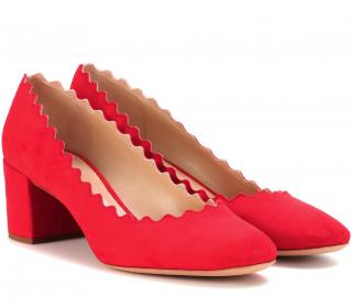 Chloe Red Suede Lauren Scalloped Pumps
