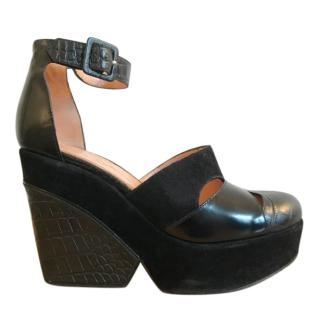 Robert Clergerie black leather & suede platform wedge sandals