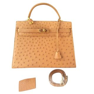 Lorenzi Tan Ostrich Kelly Style Bag