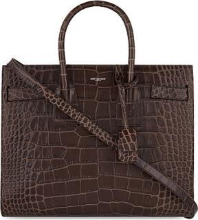 Saint Laurent Dark Brown Croc Embossed Small Sac Du Jour Bag