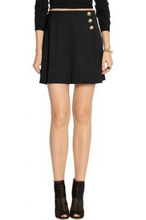 Versus Versace Black Stretch Wool-Blend Mini Skirt