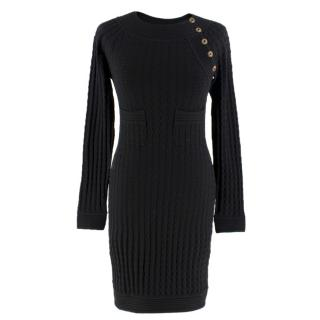 Chanel Black Wool Blend Cable-Knit Dress