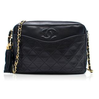 Chanel Vintage Navy Quilted Cross-Body Camera Bag