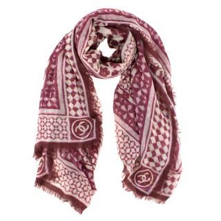 Chanel tile-print large cashmere scarf