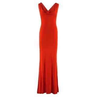 Alexander McQueen Red Lightweight Knit Cowl Neck Gown