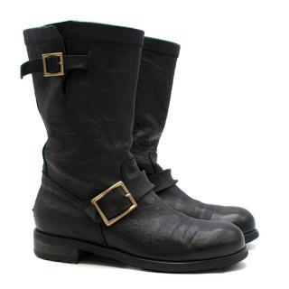 Jimmy Choo Black 'Youth' Calf Leather Biker Boots