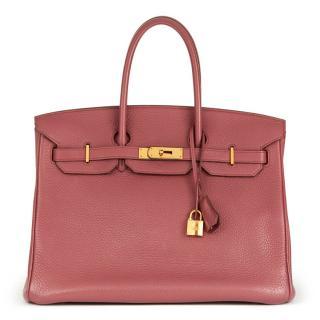 Hermes Bois De Rose Clemence Leather Birkin 35cm
