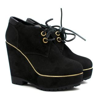 Sergio Rossi suede wedge ankle boots