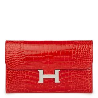 Hermes Geranium Mississippienisis Alligator Constance Long Wallet