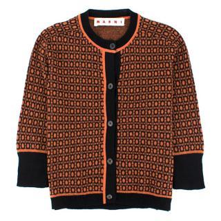 Marni Orange Jacquard-Knit Cardigan