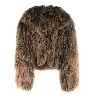 Hermes Tonal-Brown Curly Lamb Shearling Short Jacket