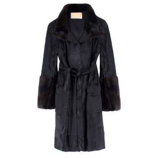 Michael Kors Black Lambs Fur & Brown Mink Fur Coat