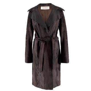 Zandra Rhodes Dark Brown Lambs Fur Coat