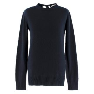 Prada Navy Cashmere Open-Back Neck Tie Sweater