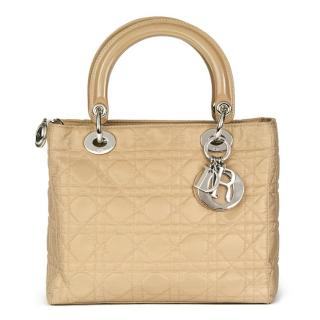 Christian Dior Beige Quilted Satin & Patent Leather Lady Dior MM