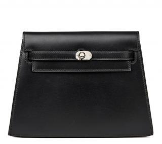 Hermes Black Box Calf Leather Crutch Clutch