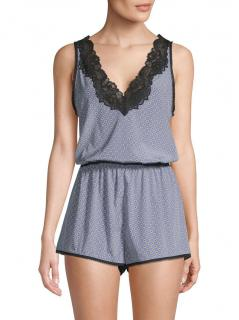 Stella McCartney Blue Poppy Snoozing Lace Trimmed Silk Playsuit