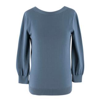 Hermes Blue V-Back Cotton Sweater